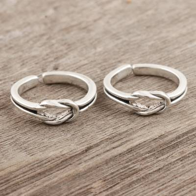 Sterling silver toe rings, 'Knot Theory' (pair) - Handmade Sterling Silver Knotted Toe Rings from India (Pair)