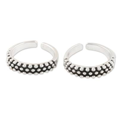 Sterling silver toe rings, 'Perfect Pair' (pair) - Hand Crafted Sterling Silver Toe Rings from India (Pair)
