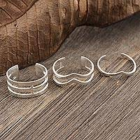 Sterling silver wrap rings, 'Blissful Trio' (set of 3) - Hand Crafted Sterling Silver Wrap Rings (Set of 3)