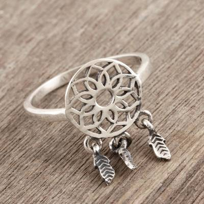 Sterling silver cocktail ring, 'Dream Catcher Charm' - Artisan Made Sterling Silver Cocktail Ring