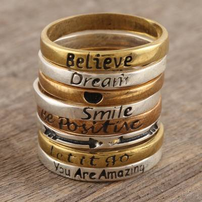 Mixed metal stacking rings, Cool Expressions (set of 8)