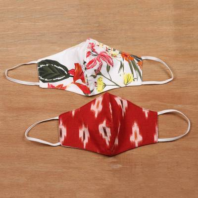 Cotton face masks, 'Red Bliss' (pair) - Pair of Cotton Face Masks Ikat and Tropical Design