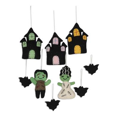 Wool ornaments, 'Halloween Haunts' (set of 9) - Set of 9 Handmade Wool Haunted Halloween Ornaments