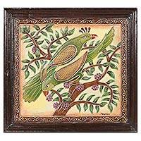 Marble wall art, 'Singing Green Birds' - Signed Hand Painted Bird Art from India
