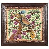 Marble wall art, 'Exotic Bird' - Framed Hand Crafted Bird Art from India