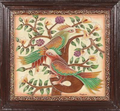 Marble wall art, 'Lover Birds' - Signed Handmade Bird Art from India