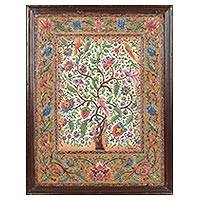 Marble wall art, 'Forest of Flowers' - Framed Handmade Tree Art from India