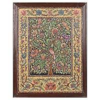 Marble wall art, 'Flowering Tree' - Signed Hand Painted Tree Art from India