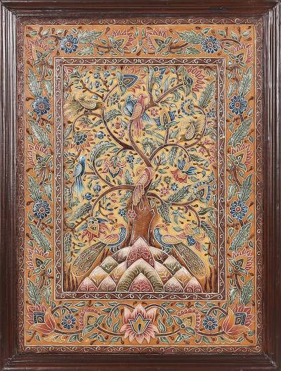 Marble wall art, 'Bewitched Tree' - Signed Hand Made Tree Art from India