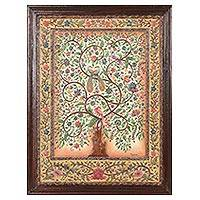 Marble wall art, 'Tree of Delights' - Signed Hand Crafted Tree Art from India