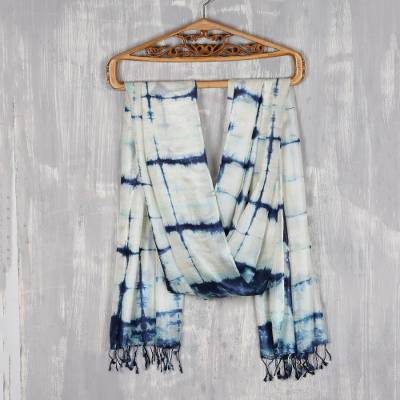 Tie-dyed silk shawl, 'Ebb and Flow in Navy' - Navy and Ivory Tie-Dyed Silk Shawl from India