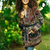 Viscose blend jacquard jacket cardigan, 'Artful Shimmer' - Floral Viscose Blend Jacquard Jacket from India