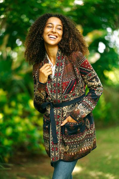 Viscose blend jacquard jacket, 'Artful Shimmer' - Floral Viscose Blend Jacquard Jacket from India