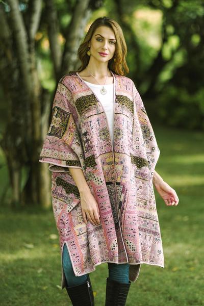 Viscose blend jacquard ruana, 'Pink Flowers' - Jacquard Geometric Viscose Blend Ruana from India