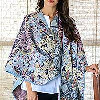 Cotton blend ruana, 'Persian City' - Knit Multicolor Cotton Blend Ruana from India
