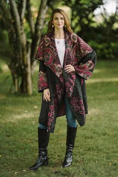 Viscose blend jacquard knit sweater coat, 'Flower Days' - Knit Floral Viscose Blend Women's Coat from India