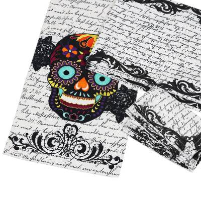 Cotton table linen set, 'Halloween Stories' (set for 4) - Cotton Halloween Table Runner & 4 Placemats & 4 Napkins