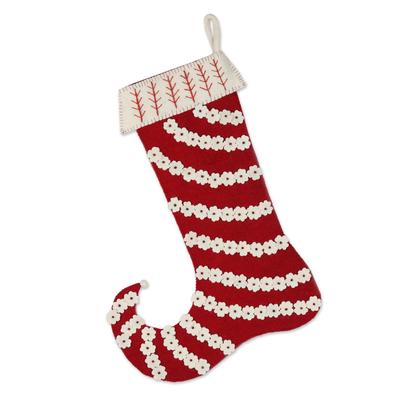 Wool Christmas stocking, 'Floral Christmas' - Handmade Wool Floral Christmas Stocking