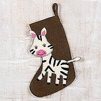 Wool felt Christmas stocking, 'Zany Zebra' - Wool Felt Christmas Stocking Zebra