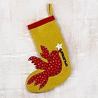 Wool Christmas stocking, 'Christmas Message' - Handmade Wool Christmas Stocking