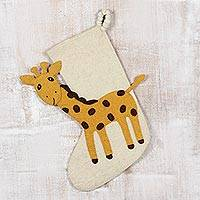 Wool Christmas stocking, 'Holiday Giraffe' - Handmade Wool Christmas Stocking