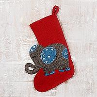 Wool Christmas stocking, 'Festive Elephant in Red' - Handmade Wool Christmas Stocking