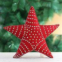 Wool Christmas tree topper, 'Red Star' - Hand Made Wool Star Christmas Tree Topper