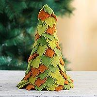 Wool Christmas decoration, 'Holiday Beauty in Green' - Hand Made Multicolored Wool Christmas Tree Decoration