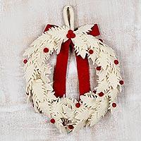 Wool Christmas wreath, 'Christmas Essence' - Handmade Ivory Wool Christmas Wreath