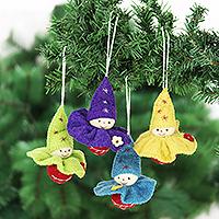 Wool felt ornaments, 'Cheerful Cherubs' (set of 4) - Handcrafted Wool Felt Cherub Ornaments Set of 4