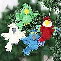 Wool felt ornaments, 'Feathered Friends' (set of 4) - Set of 4 Wool Felt Bird Ornaments