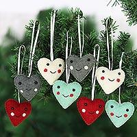 Wool felt ornaments, 'Smiling Hearts' (set of 8) - Assorted Colors Wool Felt Heart Ornaments (Set of 8)