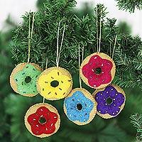Wool felt ornaments, 'Sweet Sprinkles' (set of 6) - Handmade Wool Felt Doughnut Ornaments (Set of 6)