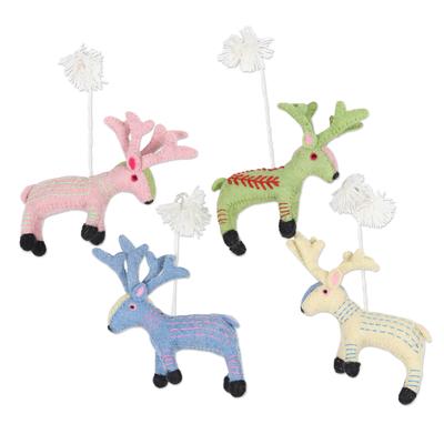 Wool felt ornaments, 'Reindeer Games' (set of 4) - Set of 4 Wool Felt Holiday Reindeer Ornaments