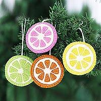Wool ornaments, 'Citrus Passion' (set of 4) - Artisan Made Felted Christmas Tree Ornaments (Set of 4)