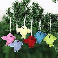 Wool felt ornaments, 'Six Birds A-Singing' (set of 6) - Set of 6 Wool Felt Songbird Ornaments