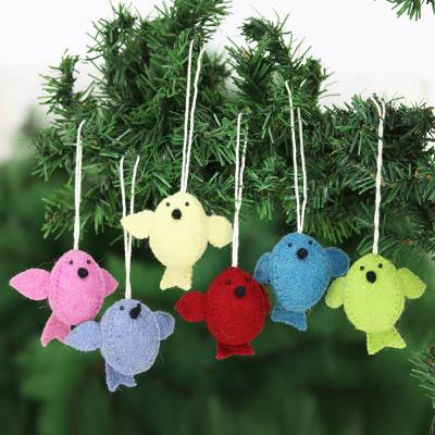 Wool felt ornaments, 'Six Birds A-Singing' (set of 6) - Set of 6 Wool Felt Songbird Ornaments