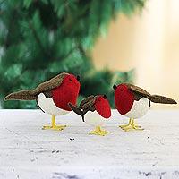 Wool felt holiday decor, 'Round Robins' (set of 3) - Set of 3 Wool Felt Robins with Glass Bead Eyes