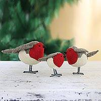 Wool felt holiday decor, 'Rockin' Robins' (set of 3) - Set of 3 Wool Felt Finches with Glass Bead Eyes