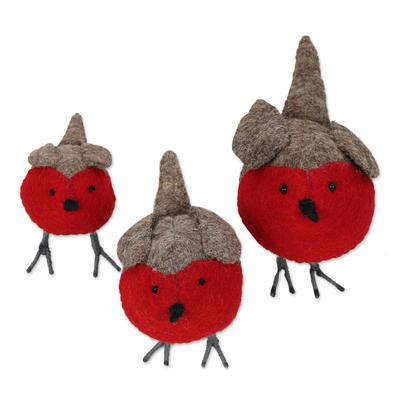 Wool felt holiday decor, 'Rockin' Robins' (set of 3) - Set of 3 Wool Felt Finches with Glass Bead Eyes