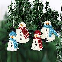 Wool ornaments, 'Snowman Greetings' (set of 4) - Hand Made Felted Snowman Christmas Tree Ornaments (Set of 4)