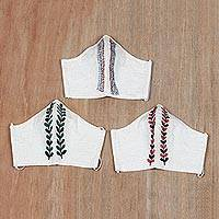Embroidered cotton face masks, 'Leafy Path' (set of 3) - Off-White Embroidered Cotton Face Masks (Set of 3)