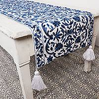 Chain stitched cotton table runner, 'Floral Charm' - Chain Stitched Cotton Floral Table Runner (16x63)