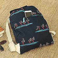 Cotton canvas backpack, 'Flamingo Friends' - Artisan Crafted Cotton Canvas Backpack from Thailand