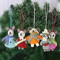 Wool felt ornaments, 'Caroling Bunnies' (set of 5) - Set of 5 Wool Felt Rabbit Caroler Ornaments