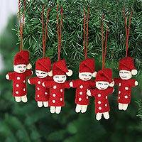 Wool felt ornaments, 'Sleepy Babes' (set of 6) - Set of 6 Sleeping Elf Wool Felt Ornaments
