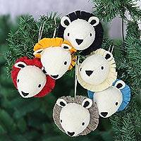 Wool felt ornaments, 'Jingle from the Jungle' (set of 6) - Set of 6 Felted Wool Lion Tree Ornaments