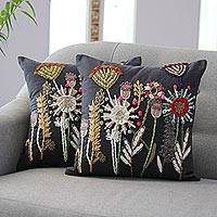 Embroidered cotton cushion covers, 'Flower Paradise' (pair) - Handmade Floral Cotton Cushion Covers (Pair)