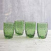 Glass tumblers, 'Bubble Up in Green' (set of 4) - Bubble Texture Glass Tumblers in Green (Set of 4)