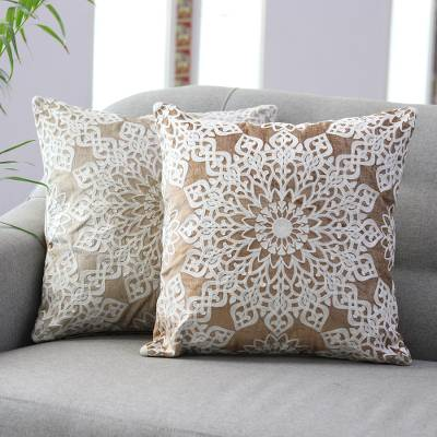 Embroidered cushion covers, 'Floral Greetings' (pair) - Hand Embroidered Polyester Velvet Cushion Covers (Pair)